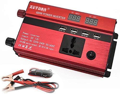 Convertidor de voltaje de piezas de automóviles 12V 24V DC a 220V AC 600W Inversor de seno / convertidor de corriente de corriente / con 4 puertos de carga USB y 1 cabina de red, para portátil, almoha