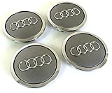 Set of Four Audi Alloy Wheels Centre Hub Caps Grey Covers Badge 69 mm 8t0 601 170 a Fits Audi Juego de cuatro Llantas Center Tapacubos Gris/Cromo protectora nadadores Buje Tapa Buje tapas 69 mm cabe