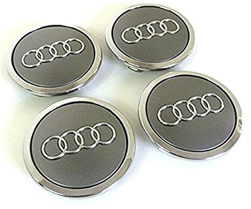 Set van vier Audi Alloy Wheels Centre Hub Caps GREY COVERS badge 69mm 8T0 601 170A fits AUDI set van vier aluminium velgen Center wieldoppen grijs/chroom afdekking naafdop naafdoppen 69mm past 69mm