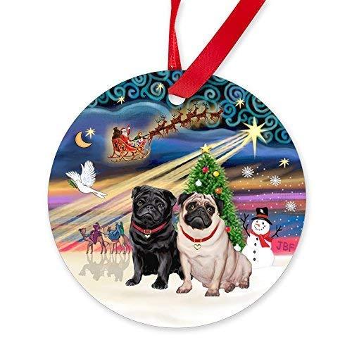 BorisMotley Christmas Magic - Figura Decorativa de Carlino Negro y Carlino Cervatillo - Adorno Redondo de Navidad