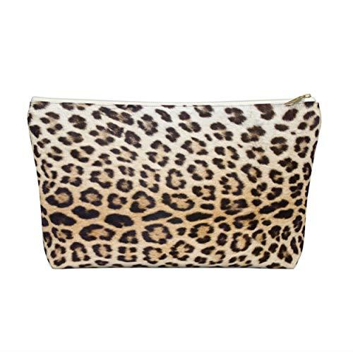 Trousse zippée à motif imprimé léopard pour cosmétiques, crayons, maquillage - Camelbeige/noir/pois caramel