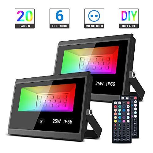 MustWin RGB Strahler 25W LED Strahler 2er mit IR-Fernbedienung IP66 Wasserdicht Fluter, 20 Farben +6 Modi +DIY Farben mit Timer Lichtgeschwindigkeit Einstellbar Für Innen Außen Garten