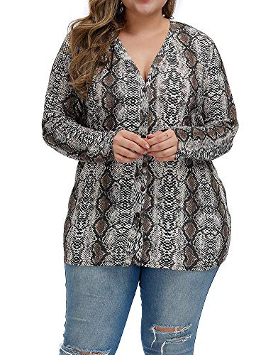 Allegrace Women Plus Size Blouses Openable Button Down Shirts Long Sleeve Color Block Stripe Tops P44 Snakeskin-H Earthy Yellow 14W