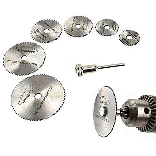 Cirkelzaagblad set 6 stuks draaigereedschap handcirkelzagen met 3,2 mm stang, mini geperforeerde doorslijpschijven voor hout, plastic, koper, aluminium en dunne plaat