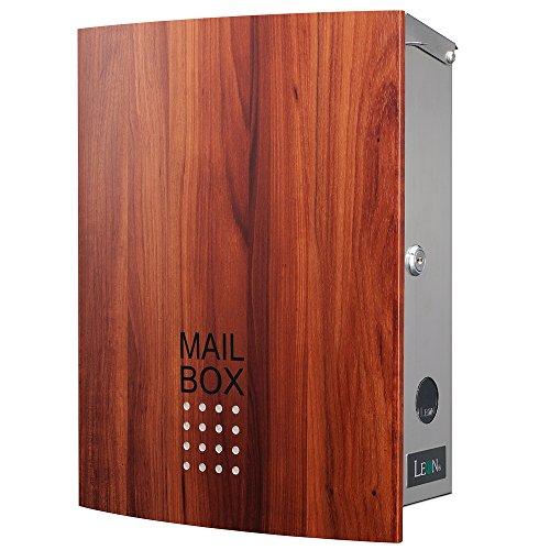 LEON (レオン) MB4504ネオ 郵便ポスト 壁掛けタイプ ステンレス製 鍵付き おしゃれ 大型 ポスト 郵便受け (マグネット付き) 木目調プラムウッド