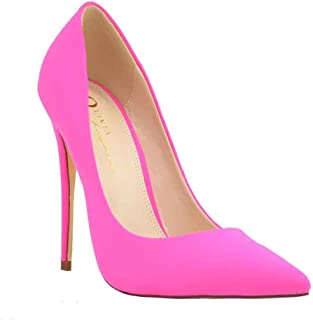 Olivia and Jaymes Women's Sculptured Pointy Toe Curved Vamp High Heel Stiletto Pump Shoes