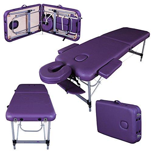 Massage Imperial® - tragbare Massageliege Knightsbridge - Aluminium 10 kg - 5cm Schaumstoff Mit Hoher Dichte - Gesichtskissen enthält 7 cm Schaumstoff - Violett