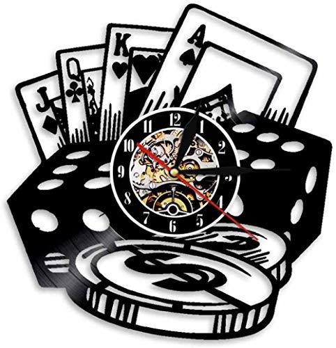 Wwbqcl Reloj de Pared Juego de fichas de póquer Reloj de Pared Colgante de Pared decoración Sala de póquer Disco de Vinilo Regalo para Jugadores-sin LED
