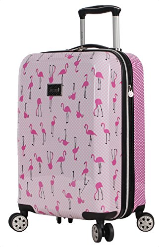 Betsey Johnson Designer 20 Inch Carry On - Expandable (ABS + PC) Hardside Luggage - Lightweight Durable Suitcase With 8-Rolling Spinner Wheels for Women (Flamingo Strut)