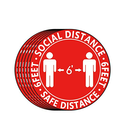 [12-Pack]Social Distancing Floor Decals - 11.81' Round Safety Distancing Floor Sign Marker - Maintain 6 Foot Distance,Anti-Slip, Commercial Grade Foot Stickers Red/White