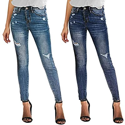 Excursion Clothing Women's Ripped Skinny Jeans Distressed Jeans Slim Fit Skinny Ankle Length Jeans Holes Denim Pants