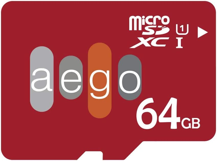 AEGO 64GB Micro SD Card Class 10 Memory Card 2 Pack UHS-1 for Samsung Galaxy/GoPro/Wyze Cam with Adapter-2 Pack U1 64GB