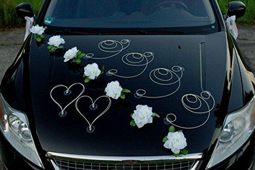 Autoschmuck DEKOR Auto Schmuck Braut Paar Rose Deko Dekoration Hochzeit Car Auto Wedding Deko PKW (Reinweiß/Weiß)