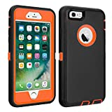 iPhone 6/6S Case Shockproof High Impact Tough Rubber Rugged Hybrid Case Silicone Triple Protective Anti-Shock Shatter-Resistant Mobile Phone Case for iPhone 6/6S 4.7'(Black-Orange)
