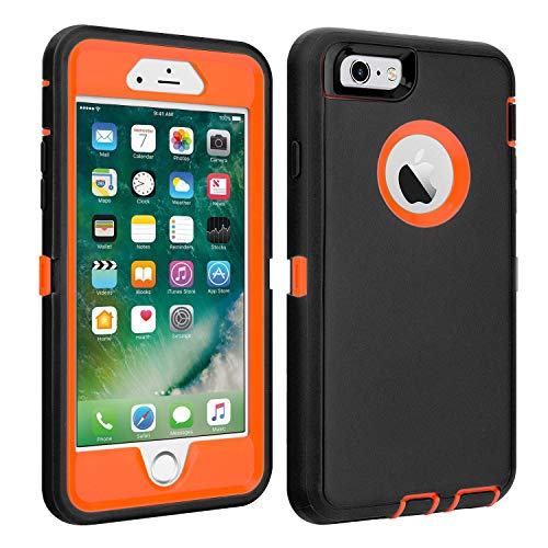 "iPhone 6/6S Case Shockproof High Impact Tough Rubber Rugged Hybrid Case Silicone Triple Protective Anti-Shock Shatter-Resistant Mobile Phone Case for iPhone 6/6S 4.7""(Black-Orange)"