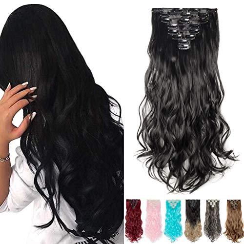 Clip en Extensiones de Cabello 8 Piezas 18 Clips Sintética Hair Extensions Rizado Ondulado 60cm Negro oscuro