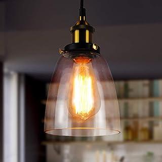 Glass Pendant Lamp Lantu Creative Vintage Industrial Metal Handmade Simple Transparent Glass Adjustable Chandelier Shade L...