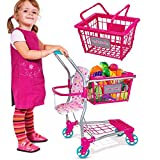Molly Dolly 2 in 1 Kids Shopping Trolley & Basket Playset - Toy Shopping Cart For Kids Aged 3 Years +