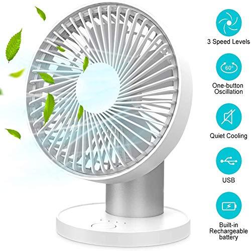 3 snelheden mini-bureauventilator, oplaadbare batterij-aangedreven ventilator met LED-lampje en 2000 mAh-batterij, draagbare USB-ventilator stil voor thuis, kantoor, reizen,kamperen,buiten