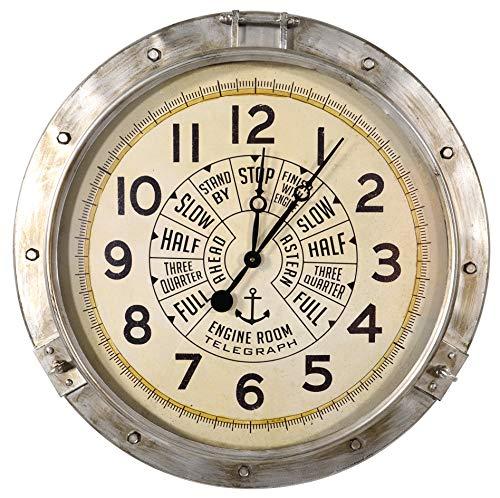 habeig XXL Vintage Wanduhr Ø72cm #656 Marine U-Boot aus Metall und Glas Antik Uhr Gross
