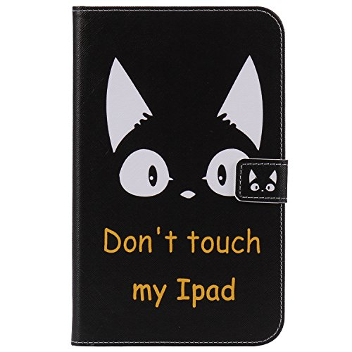 Shinyzone Coque pour Samsung Galaxy Tab 3 Lite 7.0 Pouce T110/T111,Étui Portefeuille en Cuir à Rabat avec Fermeture Magnétique,Housse Couche de Silicone pour Bumper TPU,Don't Touch My Pad