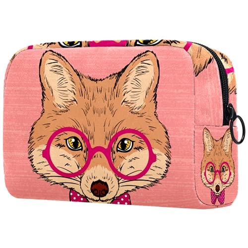 AITAI Bolsa de maquillaje grande bolsa de viaje organizador cosmético lindo hipster Fox con gafas arco