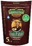 5LB Don Pablo Colombian Decaf - Swiss Water Process Decaffeinated - Medium-Dark Roast - Whole Bean Coffee - Low Acidity - 5 Pound (5 lb) Bag