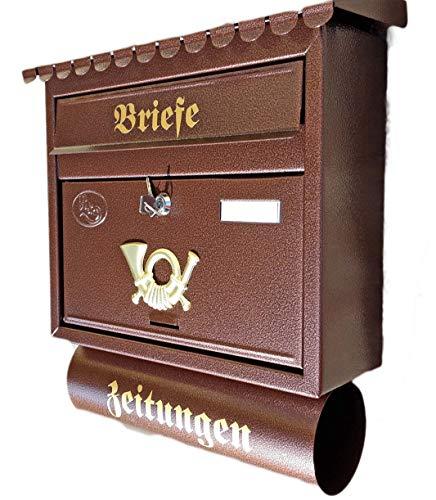 Naturholz-Schreinermeister Großer Briefkasten/Postkasten XXL Kupfer/Bronce/Braun mit Zeitungsrolle Flachdach Katalogeinwurf Zeitungsfach