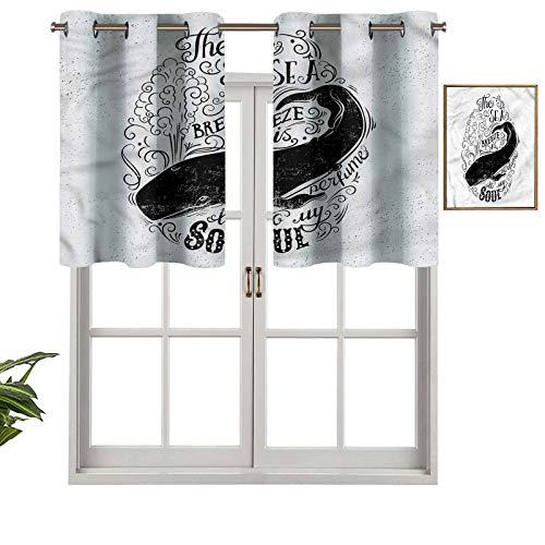 Hiiiman Cenefas de cortina opacas con aislamiento térmico y ojales cortos, Breeze is Perfume to My Soul, juego de 2, 42 x 24 pulgadas para cocina y baño
