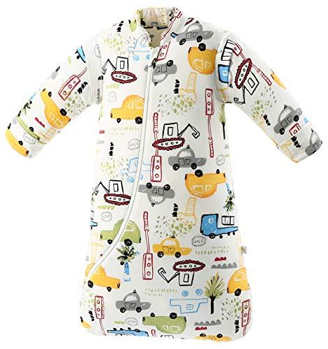 Chilsuessy Baby Schlafsack mit abnehmbaren Ärmeln Winter Angedickte, Cartoon Fahrzeug/3.5 Tog, M/Körpergröße 75-85cm