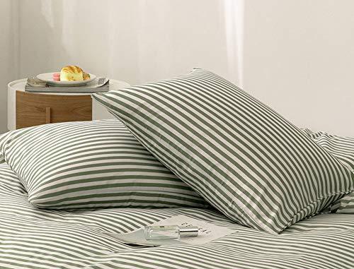 AShanlan 2er Set Kissenbezug Kissenbezüge 40 x 80 cm Grün Weiß Streifen Gebürstete Mikrofaser Gestreift Kopfkissenbezug 40x80 Kissenhülle Doppelpack Grün