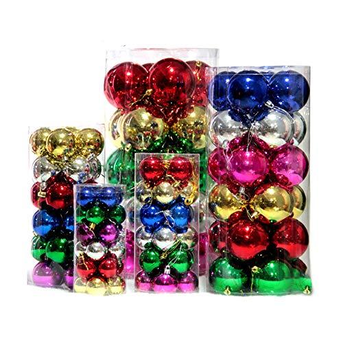 AAGOOD Weihnachtsbaumkugeln 4cm (24 Packungen) Bunte Weihnachtskugel-Dekoration Ornament P