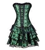 Victorian Sexy Victorian Gothic Overbust Corset Sexy Corsets and Bustiers con Falda Top Lace Up Corsss Vestido,Verde,XL