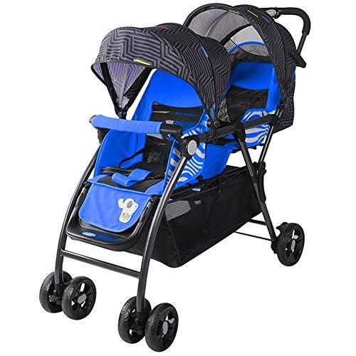 AJL Cochecitos de bebé Gemelos Sistemas de Viaje - Sillita Plegable sombrilla portátil a Prueba de Golpes, cochecitos Dobles for recién Nacidos y niños pequeños (Color : Blue)