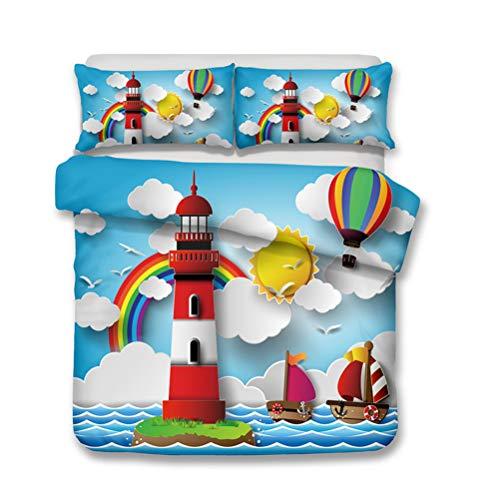 LanS Rainbow lighthouse mushroom child duvet cover bedding Set,duvet cover and pillowcase, 3 Piece Set bedding (duvet cover + 2 pillowcases) Single Double Duvet cover (B,AU-Single-140x210cm)