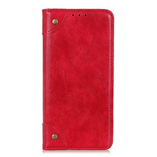 HAUW Funda Xiaomi Mi 8 Pro,Atracción magnética Flip Folio Cover para Xiaomi Mi 8 Pro-Rojo