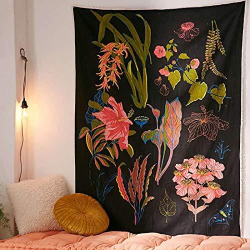 AdoDecor Tapiz Floral para Colgar en la Pared Retro Flor Rosa Tapices para Colgar en la Pared Tela Bohemia con Estampado de Plantas para Traval Camping 150x100cm/59 * 39inches