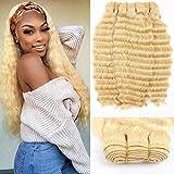 Queen Plus Hair Curly Deep Wave 613 Blonde Virgin Hair 3 Bundles Brazilian Curly Deep Honey Blonde Human Hair Bundles (12 12 12, deep 613 hair)