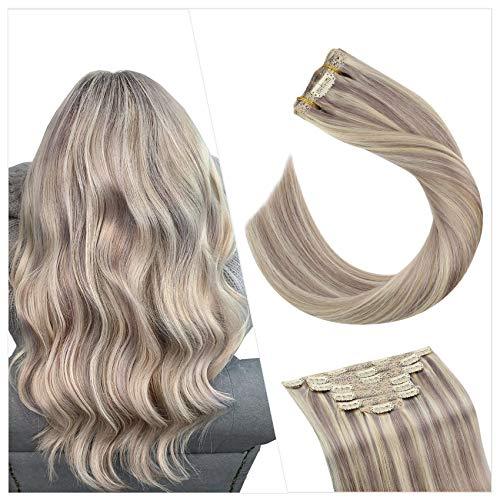 Ugeat 40cm Haarverlängerung Echthaar Tressen mit Clip #P18/613 Aschblond Mixte Gebleichtes Blond Highlight Full Head Clip in Extensions Echthaar Double Drawn Human Hair...