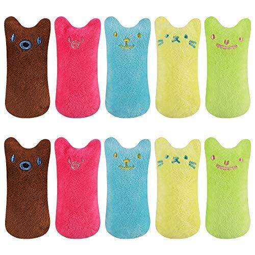 AUXSOUL 10 Stück Katzenminze Kissen, Katzenminze Plüsch Spielzeug Plüsch Daumen Geformt Katzenspielzeug Interaktive Kauen Spielzeug Cat Catnip Toys für Katzen Kitten
