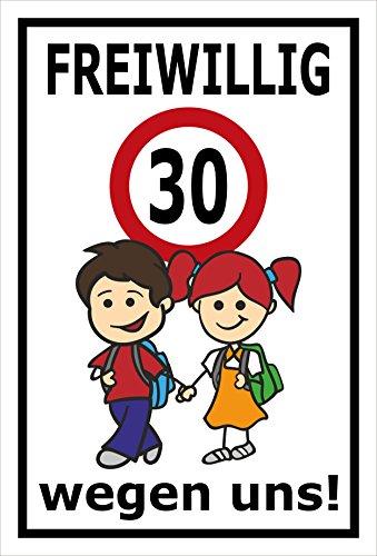Melis Folienwerkstatt sticker schild - Vrijwellig 30 km/h - S00040-012-A 45x30cm – Aluverbundplatte – mit Bohrlöchern