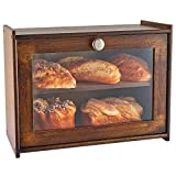 WORTHYEAH Bamboo Bread Box for Kitchen Countertop, Wooden Bread Storage Box with Transparent Window, 2-Layer Large Capacity Bread Storage, Kitchen Bread Holder, Self Assembly