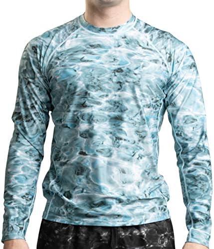 Aqua Design Rash Guard for Men Long Sleeve Swim UPF 50 Swimming Rashguard Shirt Aqua Sky Size product image