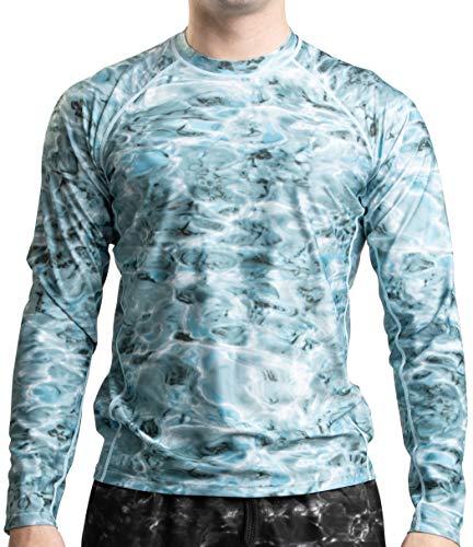 Aqua Design Rash Guard Herren: LSF 50+ langärmelige Rashguard-Badeshirts für Herren - Blau - X-Small