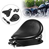 PBYMT Black 3 inch Leather Driver Solo Seat with Spring Bracket Kit Compatible for Harley ...