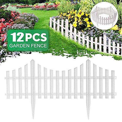 xxz Bordure de clôture de Jardin décorative Blanche de 12 pièces, Bordure de pelouse de Jardin d'insertion Facile à Installer, pour la Cour de Bordure de décoration de Paysage extérieur