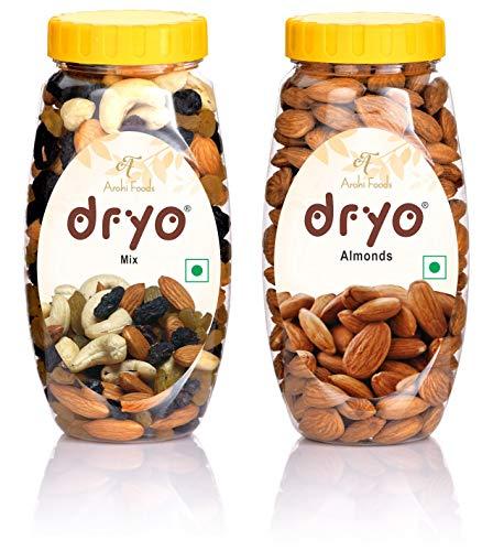 dryo Natural Combo Pack of Mix Dry Fruits 220 gm (Mixture of Almonds, Black Raisin, Cashew & Raisin) and California Almonds 250 gm...