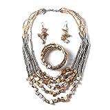 Handmade Coastal Stainless Steel Earrings Wrap Bracelet Multi Strand Statement Necklace 22' Jewelry Set for Women (Beige)