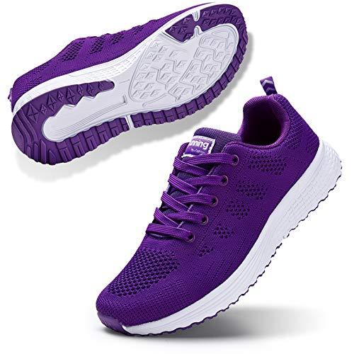 STQ Women¡¯s Slip On Walking Shoes Lightweight Casual Running Sneakers Purple 6