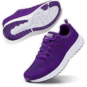 STQ Women's Athletic Walking Shoes Lightweight Mesh Tennis Sport Sneakers Purple, 9 M US